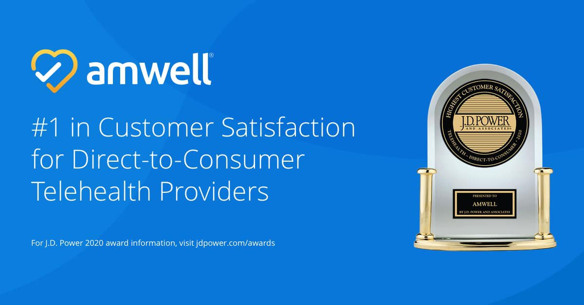 Amwell Ranked No. 1 in the J.D. Power 2020 U.S. Telehealth Satisfaction Study